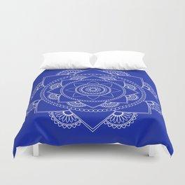 Mandala 01 - White on Royal Blue Duvet Cover