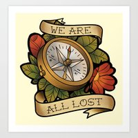 compass Art Prints featuring Compass by hvelge