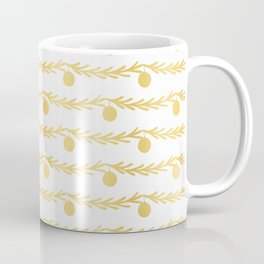 Luxe Gold Foil Christmas Tree Branch Bauble Stripes, Seamless Vector Coffee Mug