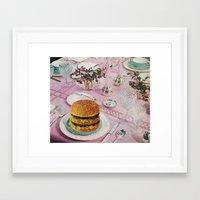 burger Framed Art Prints featuring BURGER by Beth Hoeckel