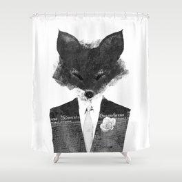 minima - dapper fox | noir Shower Curtain
