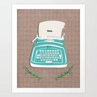 typewriter Art Prints featuring typewriter by WreckThisGirl