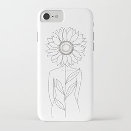 Minimalistic Line Art of Woman with Sunflower iPhone Case