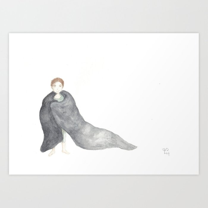 a girl with a blanket Art Print
