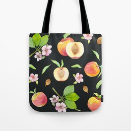 Peach fruit watercolor - Hand drawn ripe fruits Tote Bag