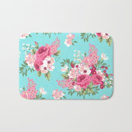 Cottage Chic Pink and Red Roses on Turquoise Linen Bath Mat