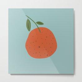 Orange Abstract Botanic Fruit Illustration Metal Print