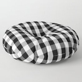 Large Black White Gingham Checked Square Pattern Floor Pillow