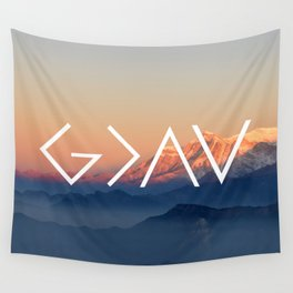 Christian Quote - God is greater than the highs and lows Wall Tapestry