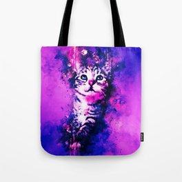 pianca baby cat kitten splatter watercolor purple pink Tote Bag