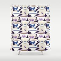 bugs Shower Curtains featuring Bugs & Teacups by Jessee Maloney - Art School Dropout