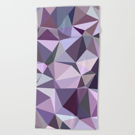 Happy purple triangles Beach Towel