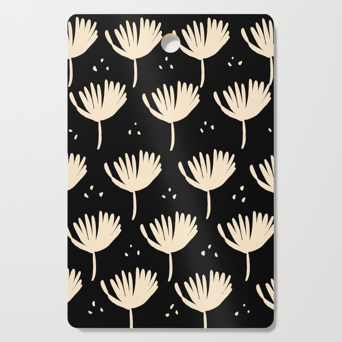 Leaves in black and ivory Cutting Board