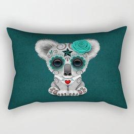 Teal Blue Day of the Dead Sugar Skull Baby Koala Bear Rectangular Pillow