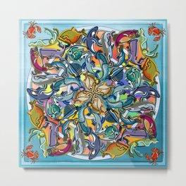 Mandala Fish Pool Metal Print