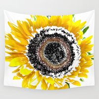 sunflower Wall Tapestries featuring Sunflower by Regan's World