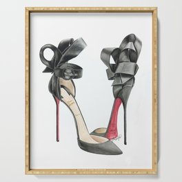 Red Sole Black Bow D'Orsay Pump Watercolor Serving Tray
