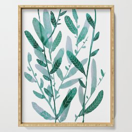 greeen water color leaves Serving Tray