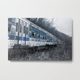 Blue Train An Abandon Trolley graveyard Metal Print