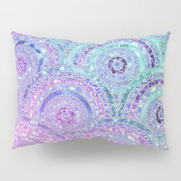Aqua Blue Purple and Pink Sparkling Glitter Circles Pillow Sham