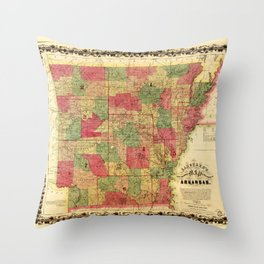 Langtree's new sectional map of the state of Arkansas (1866) Throw Pillow