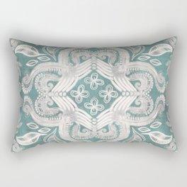 Teal and grey dirty denim textured boho pattern Rectangular Pillow