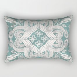 Teal and grey dirty denim textured boho pattern Rectangular Pillow