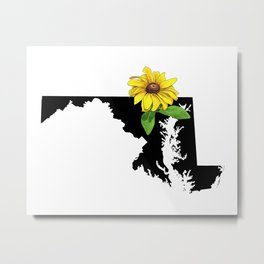 Maryland Silhouette and Flower Metal Print