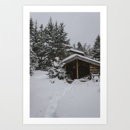 Winter at Lonesome Lake Hut Art Print