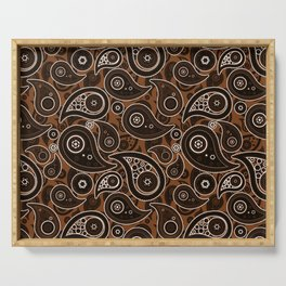 Chocolate Brown Paisley Pattern Serving Tray