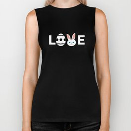 Love Egg And Bunny Face Easter Holiday Pascha Cool Biker Tank