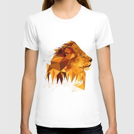 Geometric Lion Wild animals Big cat Low poly art Brown and Yellow T-shirt