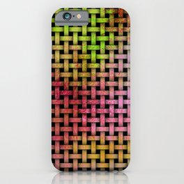Pink and Green Wooden Weave Pattern iPhone Case