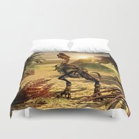 trex Duvet Covers featuring Tyrannosaurus skeleton by nicky2342