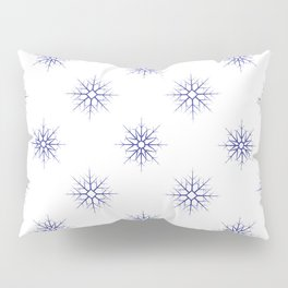 Seamless pattern with blue snowflakes on white background Pillow Sham