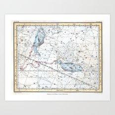 Vintage Pisces Constellation Art Print