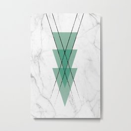 Marble Scandinavian Design Geometric Triangle Metal Print