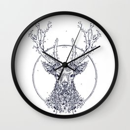 Flowers and Stag [Monochrome] Wall Clock