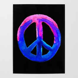 Pink Blue Watercolor Tie Dye Peace Sign Poster