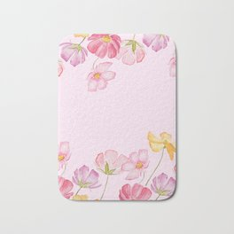 colorful cosmos flwoer in pink background Bath Mat