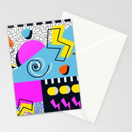 Retro memphis mess Stationery Cards