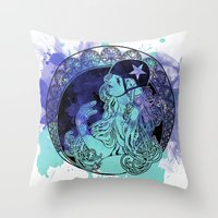 roller derby Throw Pillows featuring Nouveau Roller Derby by Mean Streak