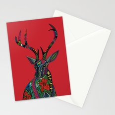 poinsettia deer red Stationery Cards