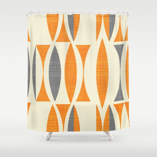 Seventies Orange Shower Curtain By Chicca Besso