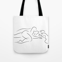 Couple in bed drawing. Tote Bag