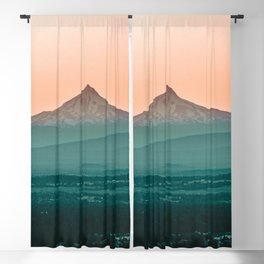 Stratovolcano Sunset // Beautiful Scenic Oregon Mountain Scape Teal Rolling Hills Snow Summit Blackout Curtain