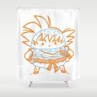 goku Shower Curtains featuring Cheeseburger Goku by Philip Tseng