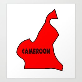 Cameroon Silhouette Map Art Print