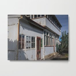 Weathered White Building Metal Print
