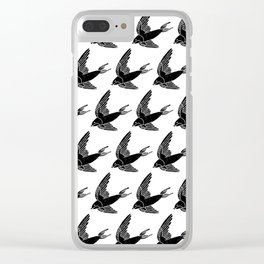 Linocut Swallow bird pattern black and white birds minimal gender neutral nursery Clear iPhone Case